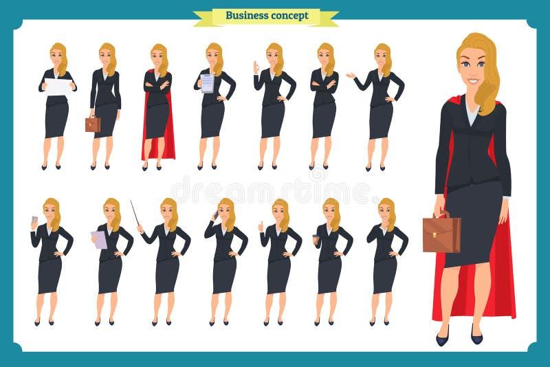Reeks die van jonge onderneemster in verschillend de voorstellen stelt Mensenkarakter status Geïsoleerd op wit Vlakke stijl Zaken royalty-vrije illustratie