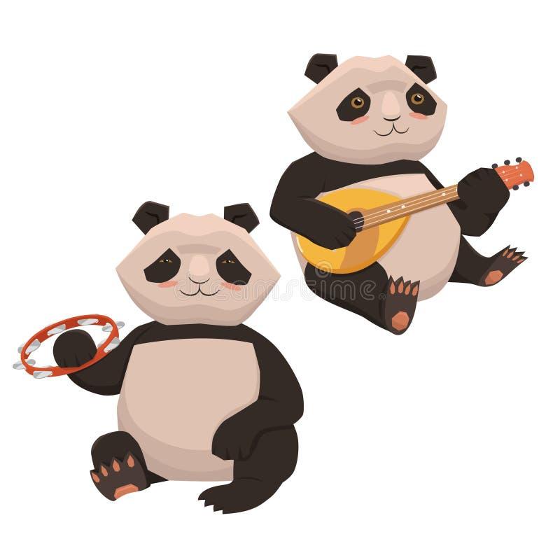 Reeks die van twee leuke panda's muzikale instrumenten spelen Isoleert op een witte achtergrond Vector grafiek stock illustratie