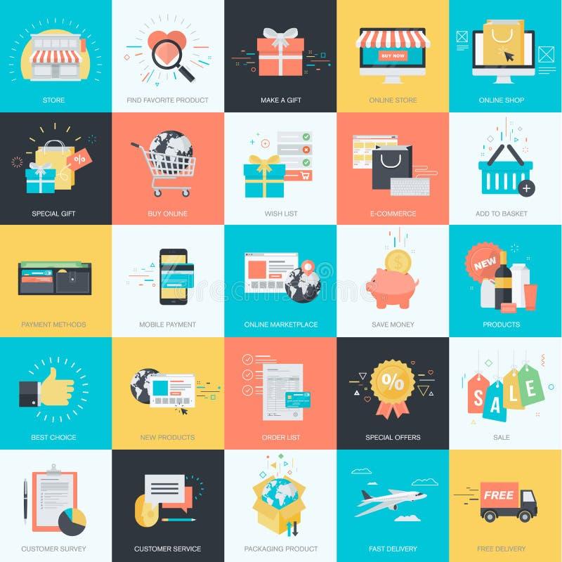 Reeks die vlakke pictogrammen van de ontwerpstijl voor elektronische handel, online winkelen royalty-vrije illustratie