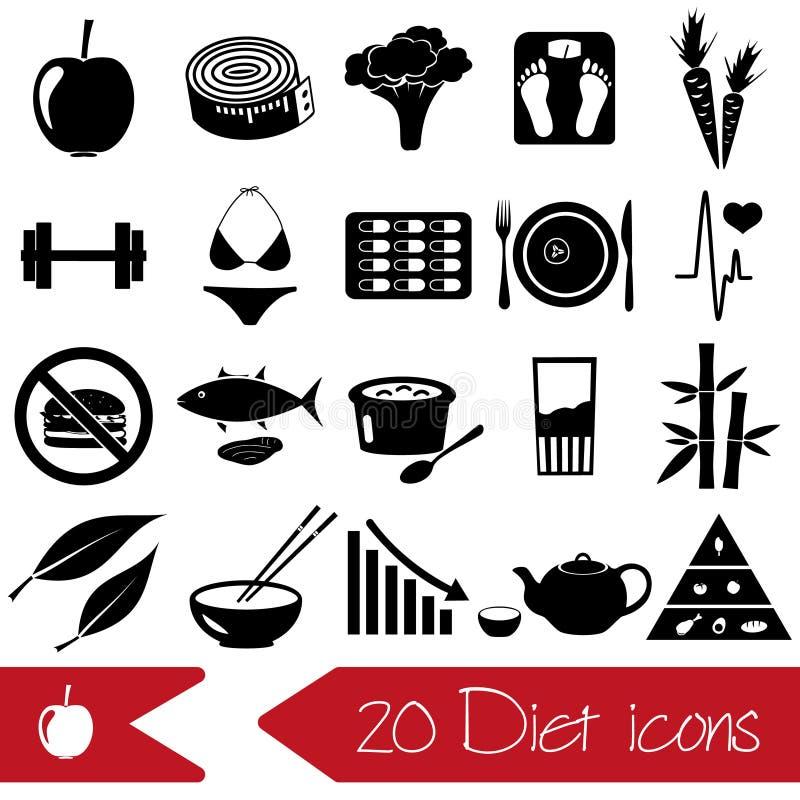 Reeks dieet en gezonde zwarte pictogrammen van het levensstijlthema vector illustratie
