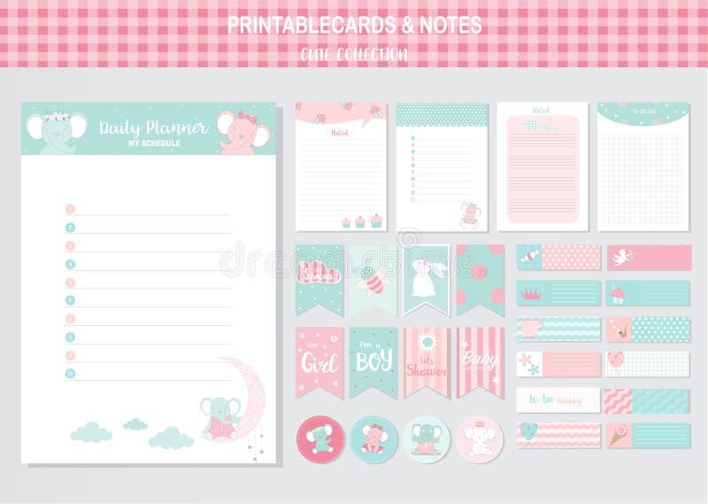 Reeks dieren en leuke vectorkaarten, olifanten, voor het drukken geschikte babydouche, markeringen, kaarten, malplaatjes, Nota's, stock illustratie