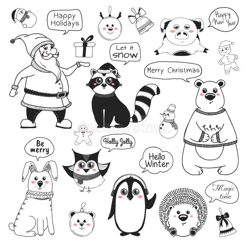 Reeks dieren en verschillende Kerstmiselementen Verschillende groeten Vector illustratie vector illustratie