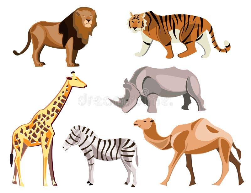 Reeks dieren van Afrika op witte achtergrond vector illustratie