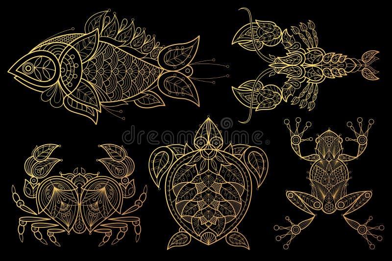 Reeks dierenvissen, zeekreeft, krab, zeeschildpad, kikker stock illustratie