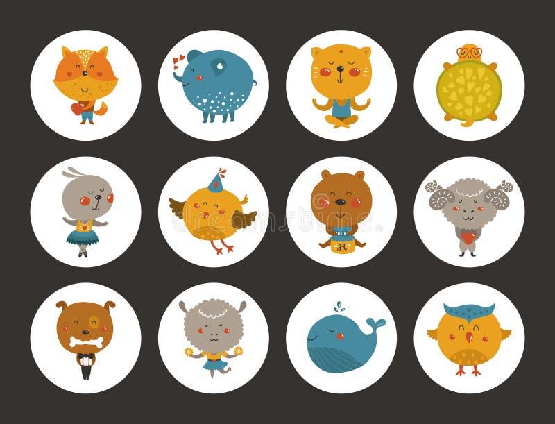 Reeks dierlijke avatars vector illustratie