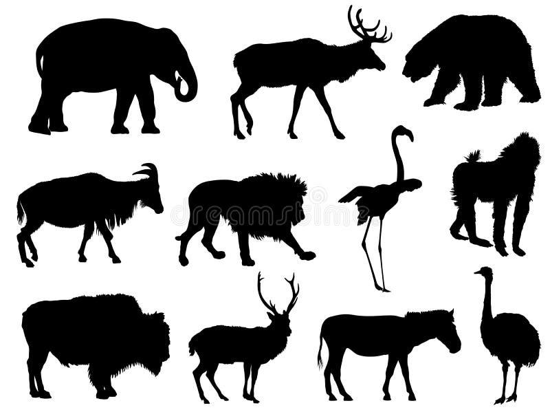 Reeks dierlijke silhouetten royalty-vrije illustratie