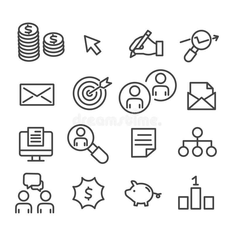 Reeks digitale marketing pictogrammen Het concept van de zoekmachineoptimalisering voor zaken, beheersoverzicht op witte achtergr stock illustratie
