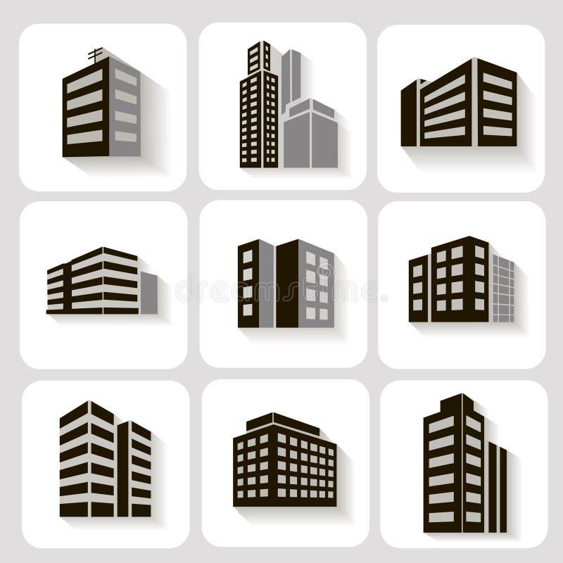 Reeks dimensionale gebouwenpictogrammen in grijs en royalty-vrije illustratie