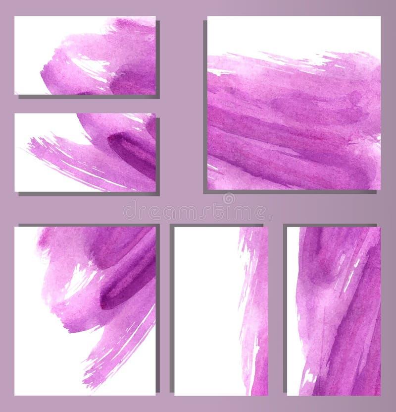 Reeks diverse adreskaartjes, schema's - abstracte heldere purpere achtergrond, waterverfimitatie, borstel` s textuur stock illustratie