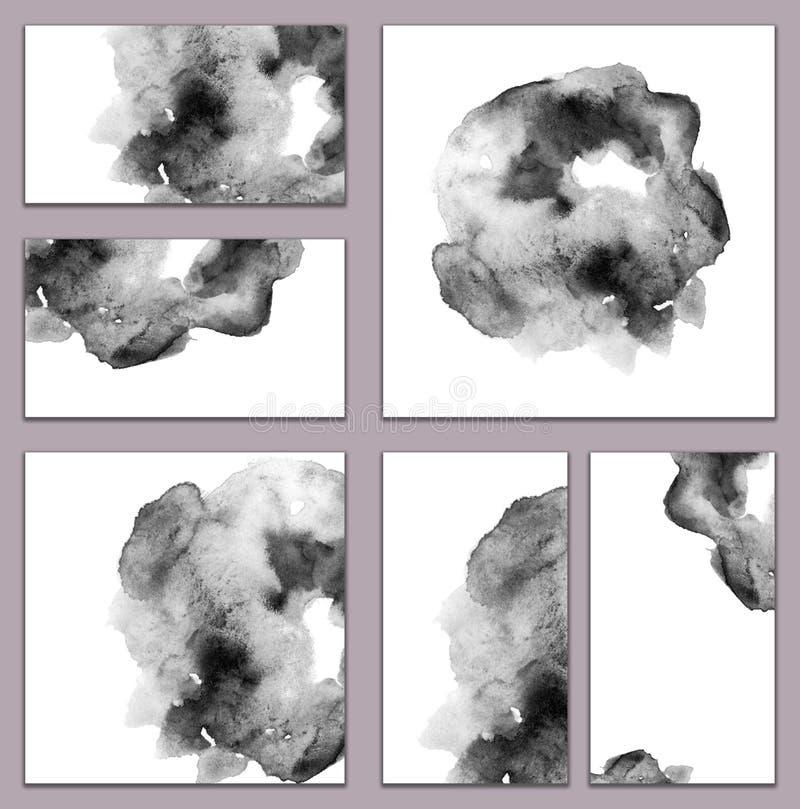 Reeks diverse adreskaartjes, schema's - abstracte zwart-witte waterverf met de hand geschilderde achtergrond, borstel` s textuur stock illustratie