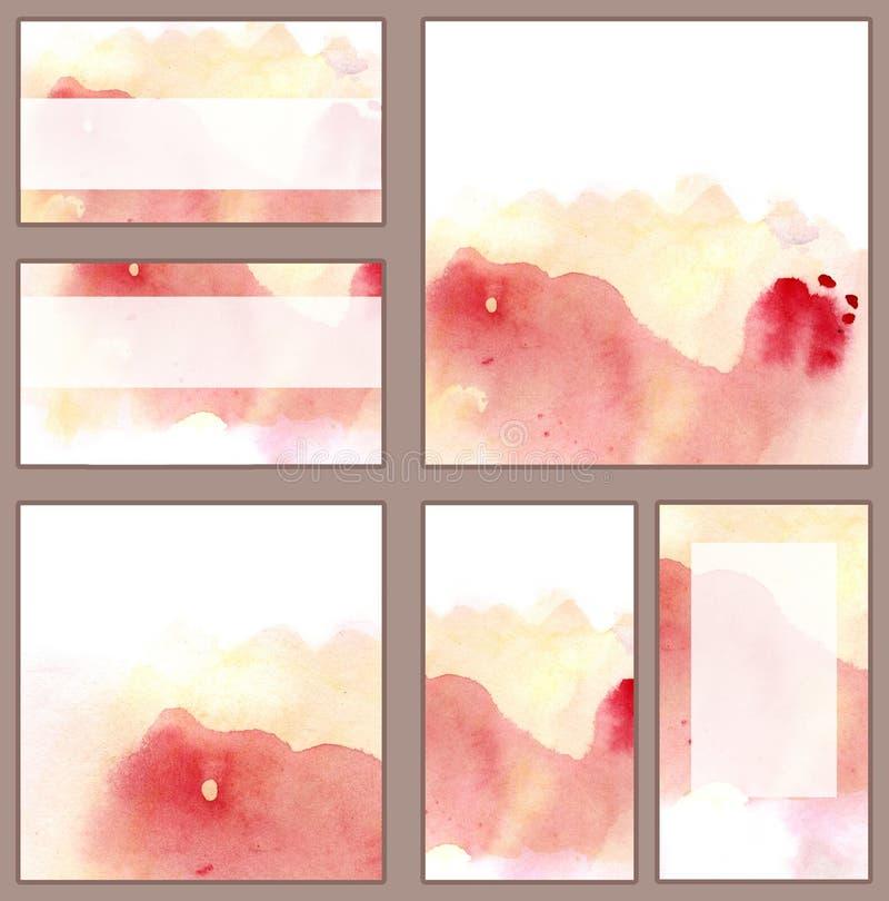 Reeks diverse adreskaartjes, schema's - de vlotte waterverf druipt gradiënt van roos en perzikgamma vector illustratie