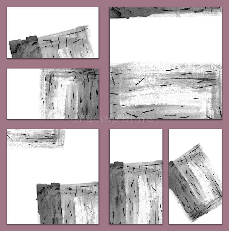 Reeks diverse adreskaartjes, schema'smalplaatjes - Artistieke zwart-wit hand geschilderde illustratie in Chinese stijl royalty-vrije illustratie