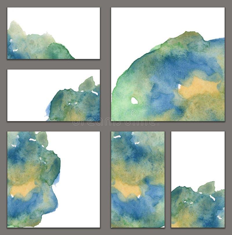 Reeks diverse adreskaartjes, schema'smalplaatjes - Blauwe en groene waterverfvlek met druppel en gradiënt vector illustratie