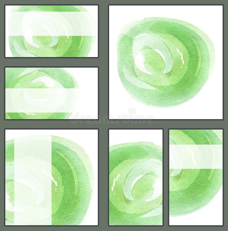 Reeks diverse adreskaartjes, schema'smalplaatjes - Lichtgroene cirkel, waterverf hand-drawn, minimalistic achtergrond stock illustratie