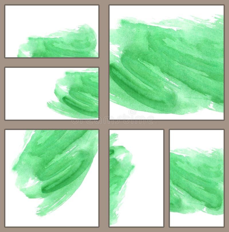 Reeks diverse adreskaartjes, schema'smalplaatjes - Waterverf groene penseelstreek, minimalistic met de hand geschilderde illustra vector illustratie