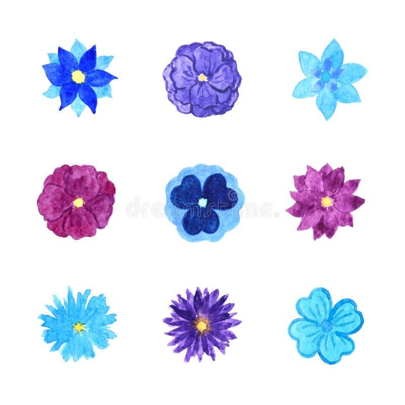 Reeks Diverse Blauwe en Purpere Waterverf Bloeiende die Bloemen op Wit worden geïsoleerd stock illustratie