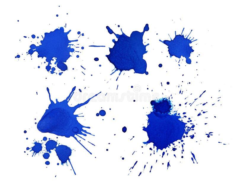 Reeks diverse blauwe inkt of verfvlekken voor ontwerpinzameling royalty-vrije stock fotografie
