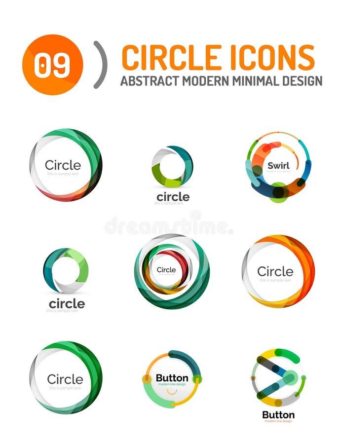 Reeks diverse cirkelemblemen stock illustratie