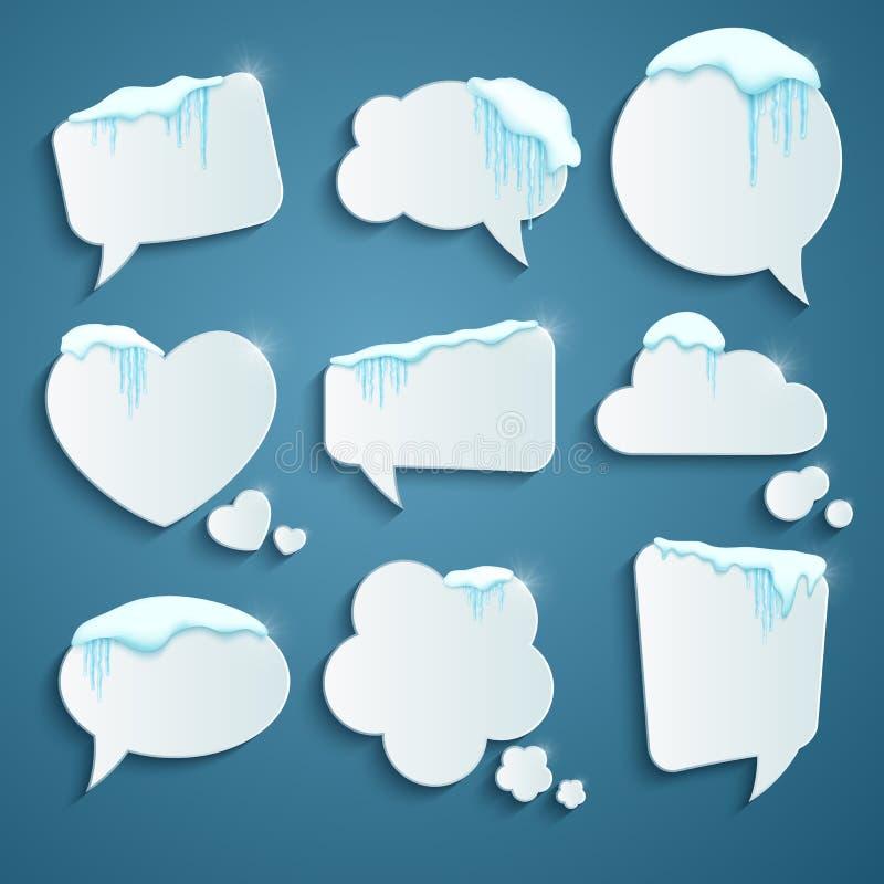 Reeks diverse die toespraakbellen met realistische sneeuw en ijskegels worden verfraaid Ontwerpsjabloon voor vrolijke Kerstmis Ve royalty-vrije illustratie