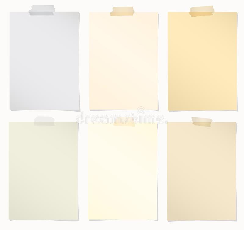 Reeks diverse documenten van de kleurennota met kleefstof stock illustratie