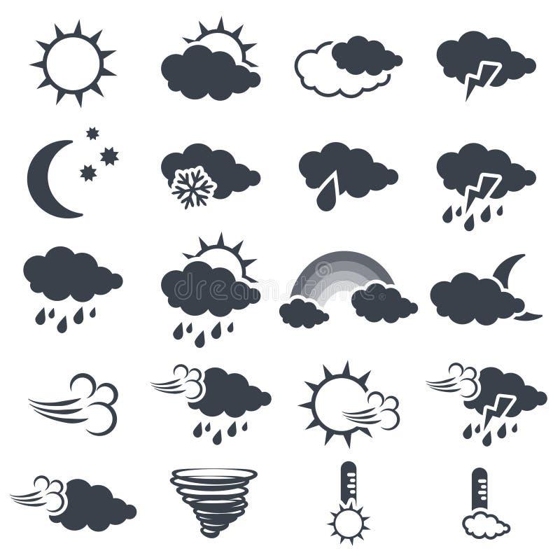 Reeks diverse donkere grijze weersymbolen, elementen van voorspelling - pictogram van zon, wolk, regen, maan, sneeuw, wind, werve stock illustratie