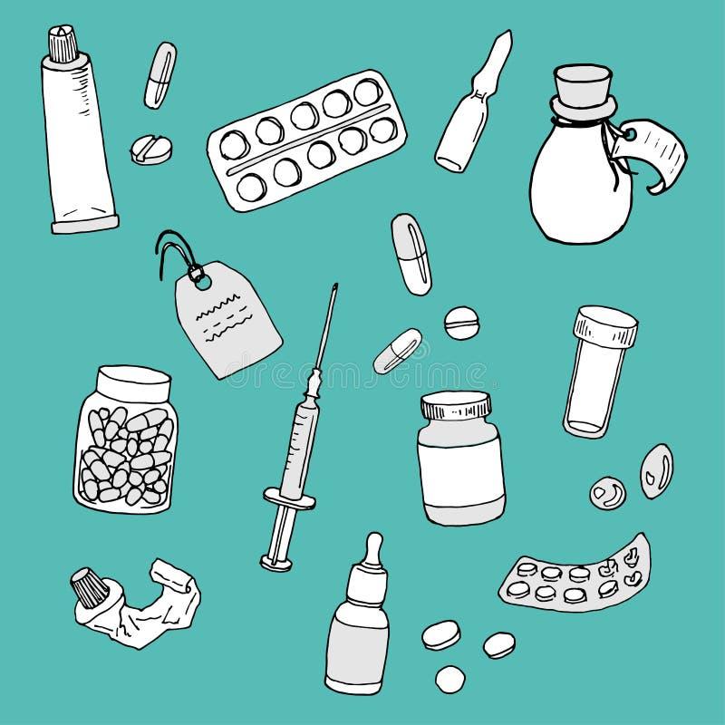 Reeks diverse drugs en medische producten: pillen, kruik met geneesmiddelen, spuit en buis van zalf - vectorillustratie royalty-vrije illustratie