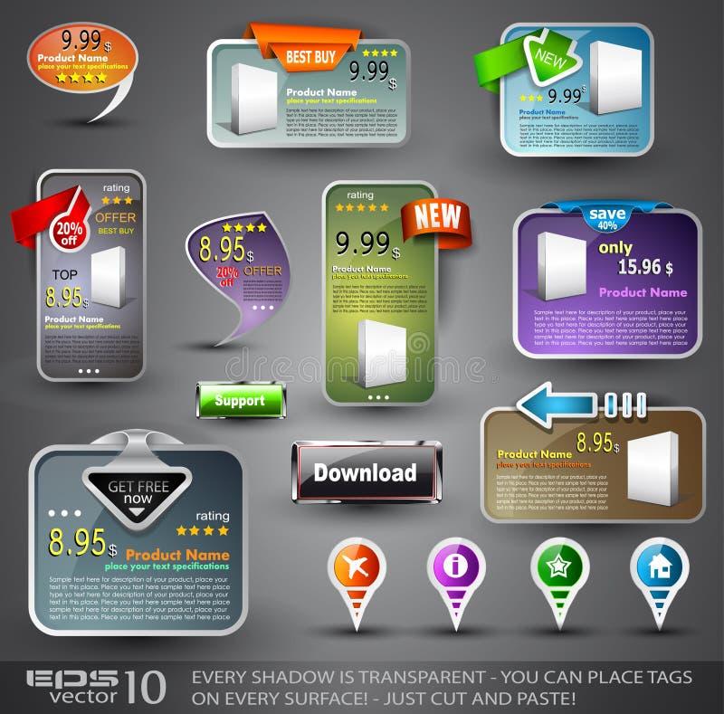 Reeks Diverse Elementen van het Ontwerp voor Web stock illustratie