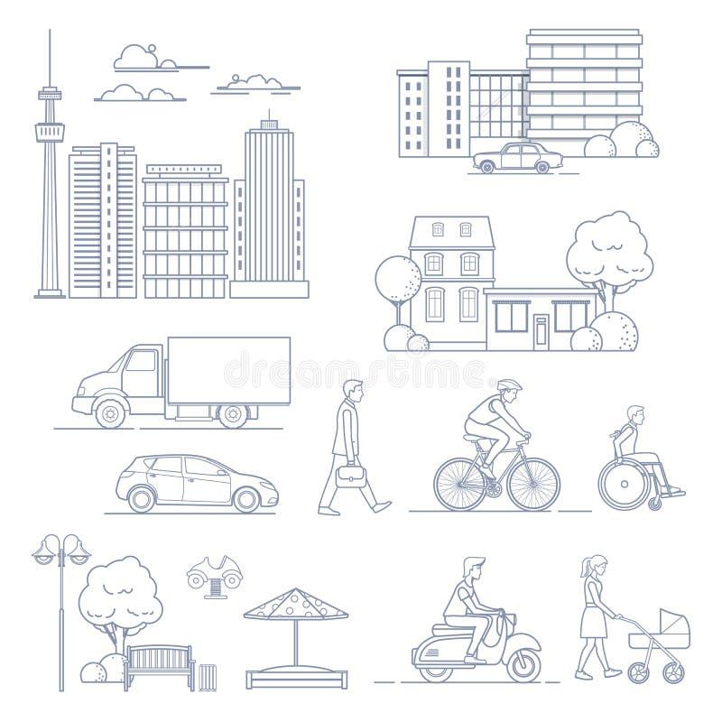 Reeks diverse elementen van het stadsontwerp stock illustratie