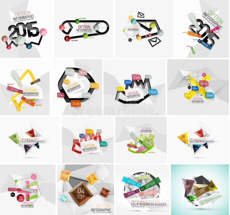 Reeks diverse geometrische abstracte infographic vector illustratie