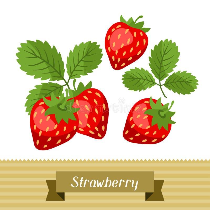 Reeks diverse gestileerde aardbeien royalty-vrije illustratie
