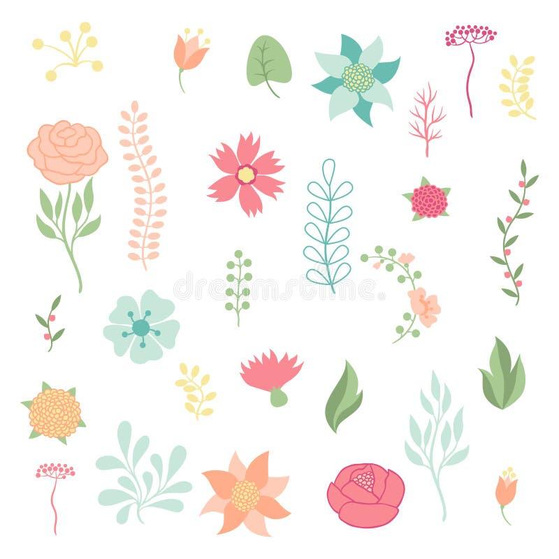 Reeks diverse gestileerde bloemen en elementen stock illustratie