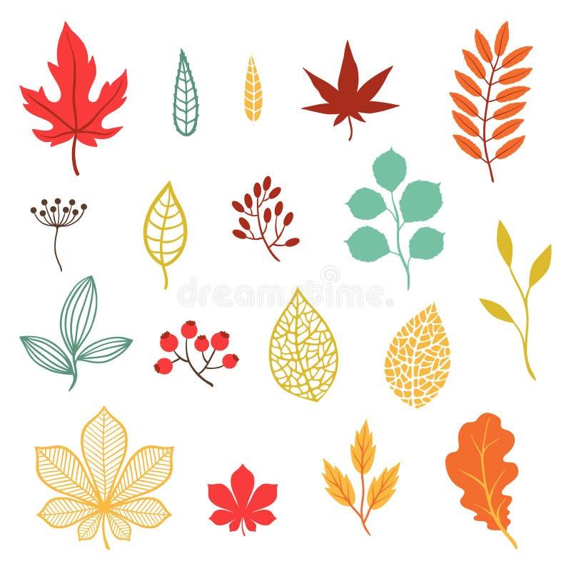 Reeks diverse gestileerde de herfstbladeren en elementen royalty-vrije illustratie