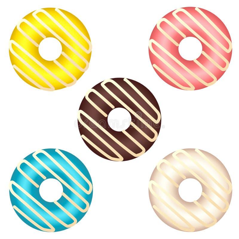 Reeks diverse kleurrijke die donuts op witte achtergrond wordt geïsoleerd stock illustratie