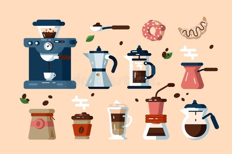 Reeks diverse koffiemachines en hulpmiddelen royalty-vrije illustratie