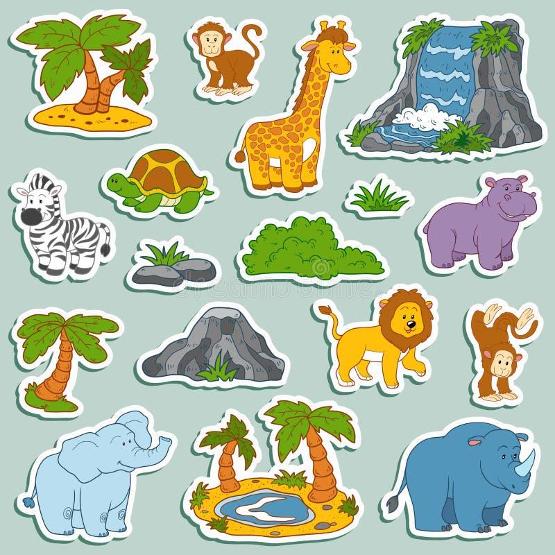 Reeks diverse leuke dieren, vectorstickers van safaridieren stock illustratie