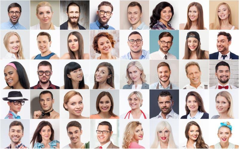 Reeks diverse mensen die positieve emoties uitdrukken royalty-vrije stock afbeeldingen