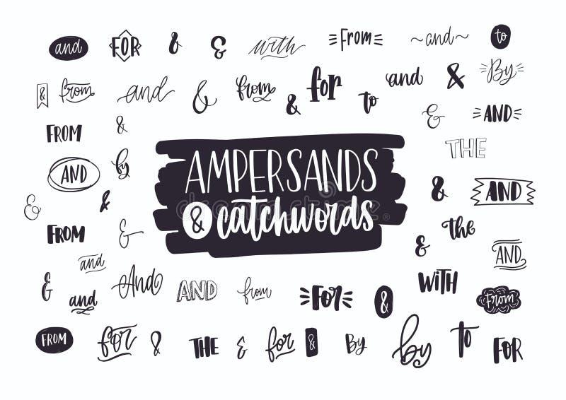 Reeks diverse met de hand geschreven ampersands, combinaties, voorzetsels en artikelen Inzameling van het elegante hand van lette royalty-vrije illustratie