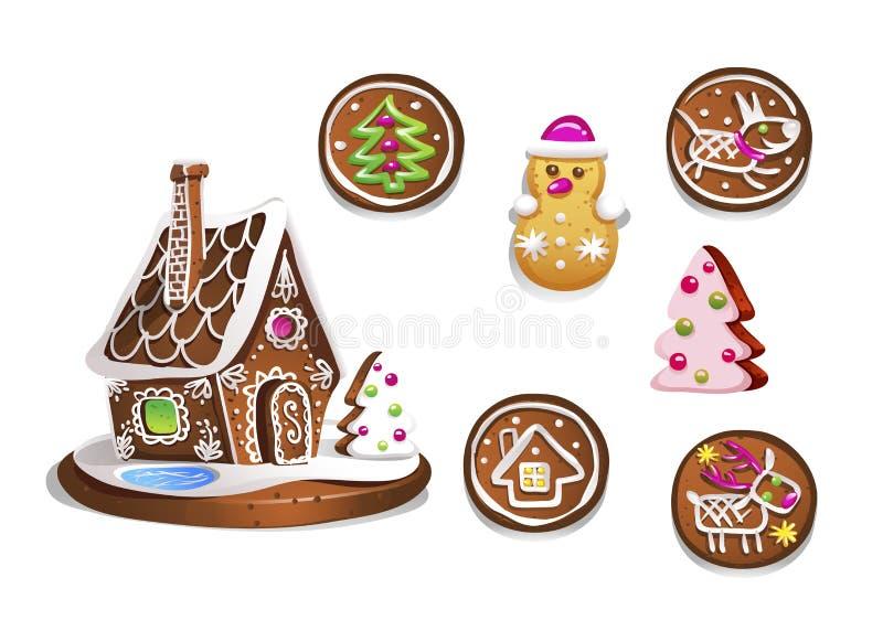 Reeks diverse peperkoekcijfers Leuke hand getrokken honingscakes Traditionele zoete Kerstmis behandelt Kleurrijke vectorillustrat stock illustratie