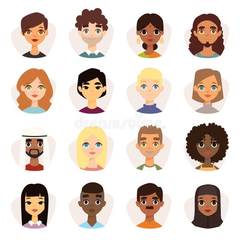 Reeks diverse ronde avatars met gezichtseigenschappen verschillende nationaliteiten, kleren en kapsels vector illustratie
