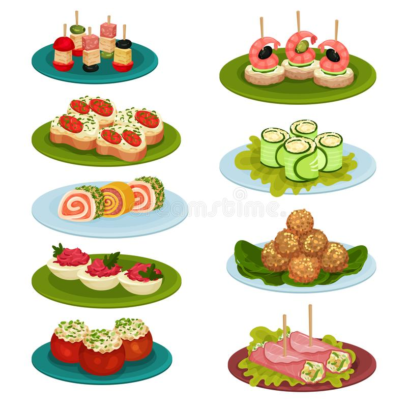 Reeks diverse snacks voor banket Smakelijk voedsel Culinair thema Vlakke vector voor receptenboek of restaurantmenu royalty-vrije illustratie