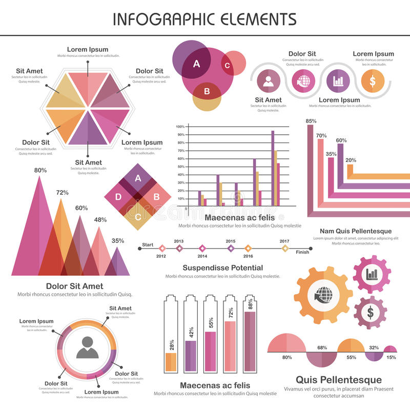 Reeks diverse statistische bedrijfs infographic elementen royalty-vrije illustratie