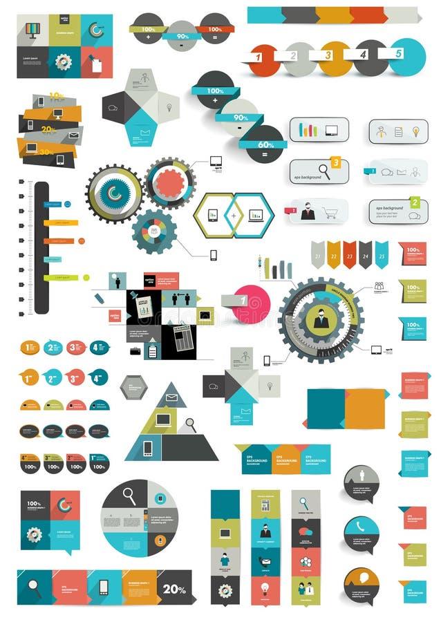 Reeks diverse vlakke infographic malplaatjes stock illustratie