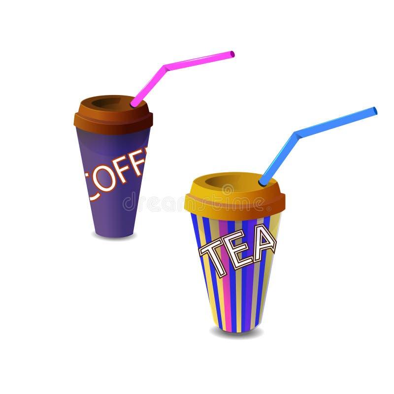 Reeks Document glazen met koffie en thee stock illustratie