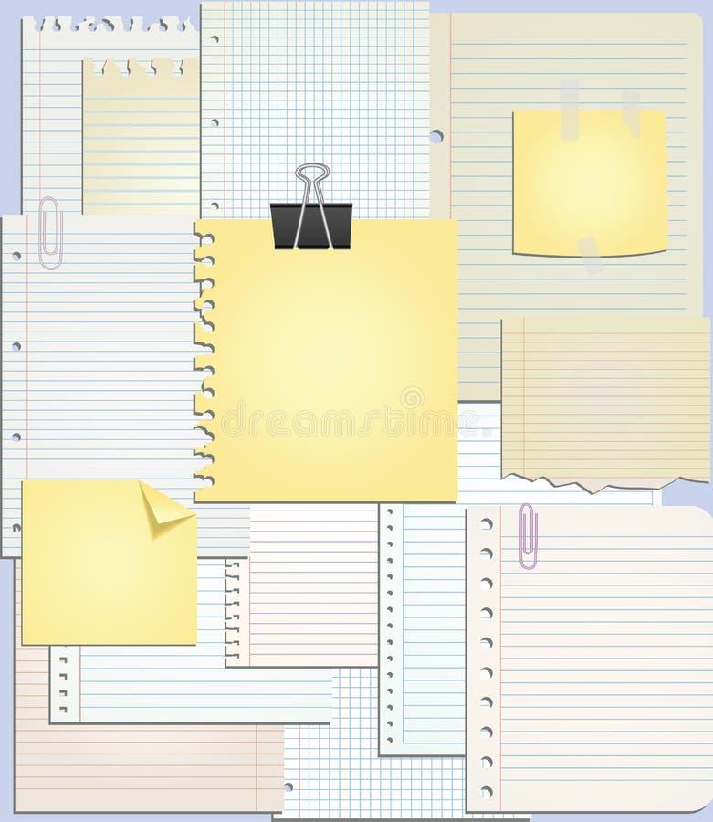 Reeks document nota's Vector illustratie royalty-vrije illustratie
