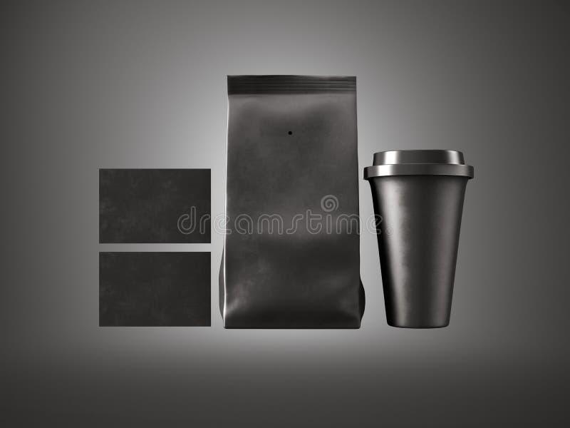 Reeks document pakket, koffiekop en twee lege adreskaartjes Zwarte achtergrond horizontaal 3d geef terug stock foto