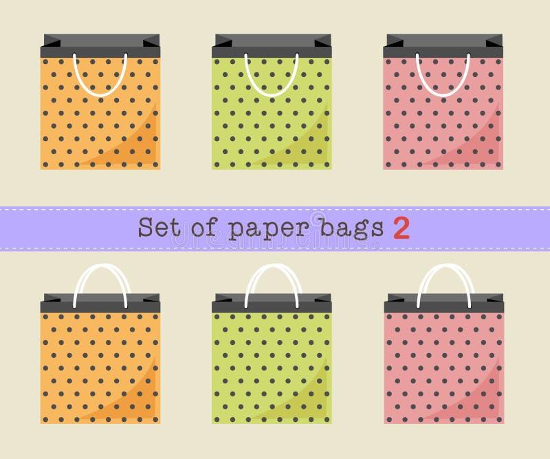 Reeks document zakken 2, oranje, groene, roze stippendocument zakken Vector illustratie stock illustratie