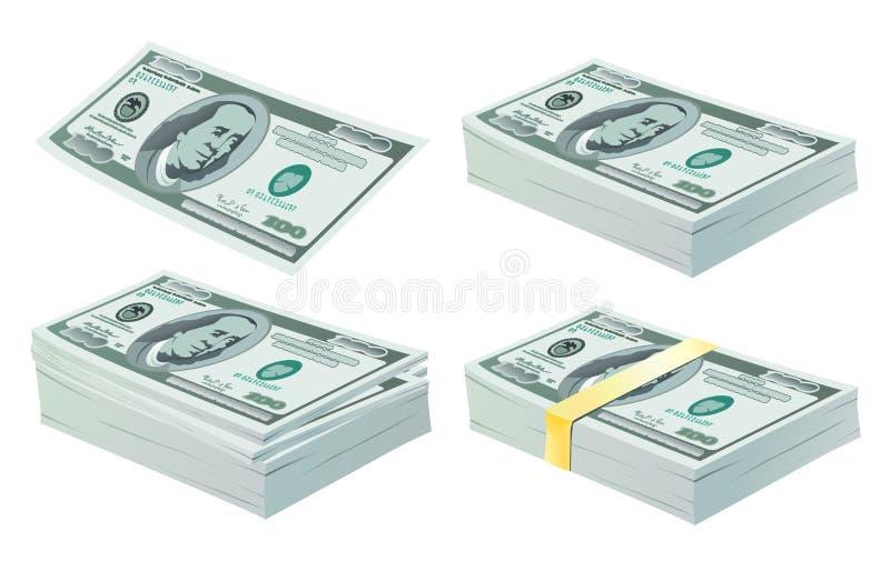 Reeks dollars vector illustratie