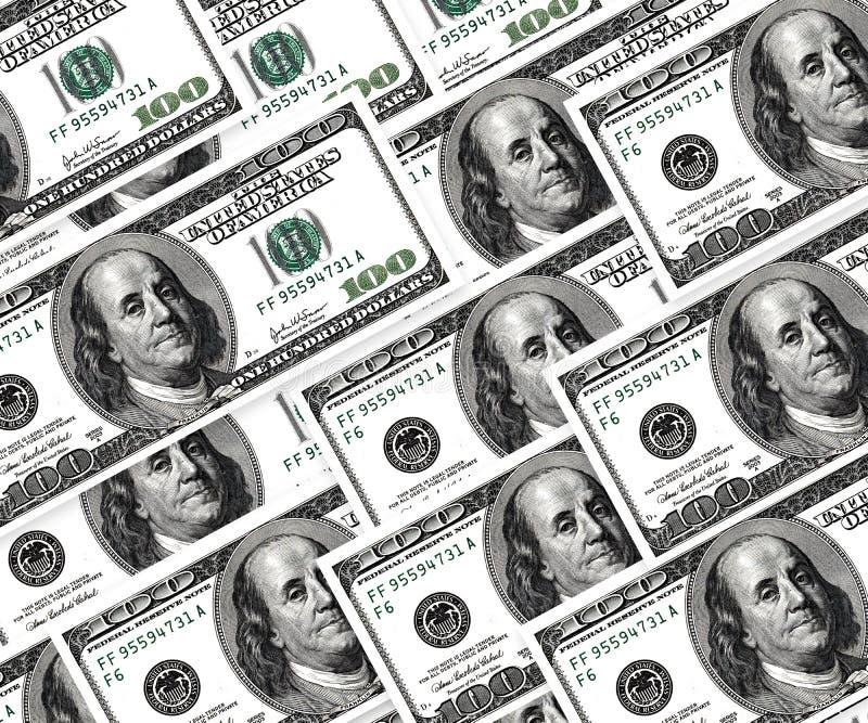 Reeks dollars, geldachtergrond royalty-vrije stock afbeelding