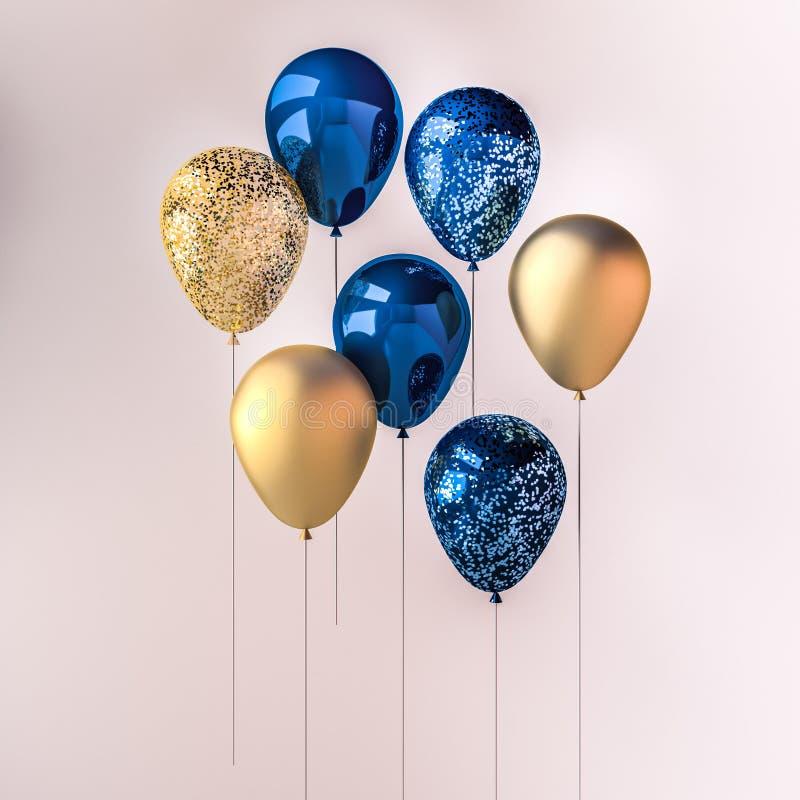 Reeks donkerblauwe en gouden glanzende ballons op de stok met fonkelingen op witte achtergrond 3D geef voor verjaardag, partij, h stock illustratie