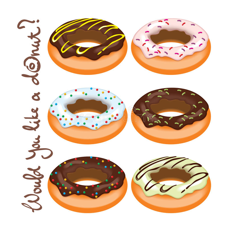 Reeks donuts stock illustratie